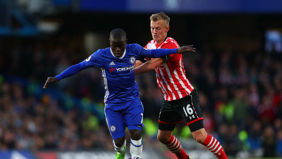 LONDON, ENGLAND - APRIL 25:  N'Golo Kante of Chelsea holds off James Ward-Prowse of Southampton during the Premier League match between Chelsea and Southampton at Stamford Bridge on April 25, 2017 in London, England.  (Photo by Clive Rose/Getty Images)