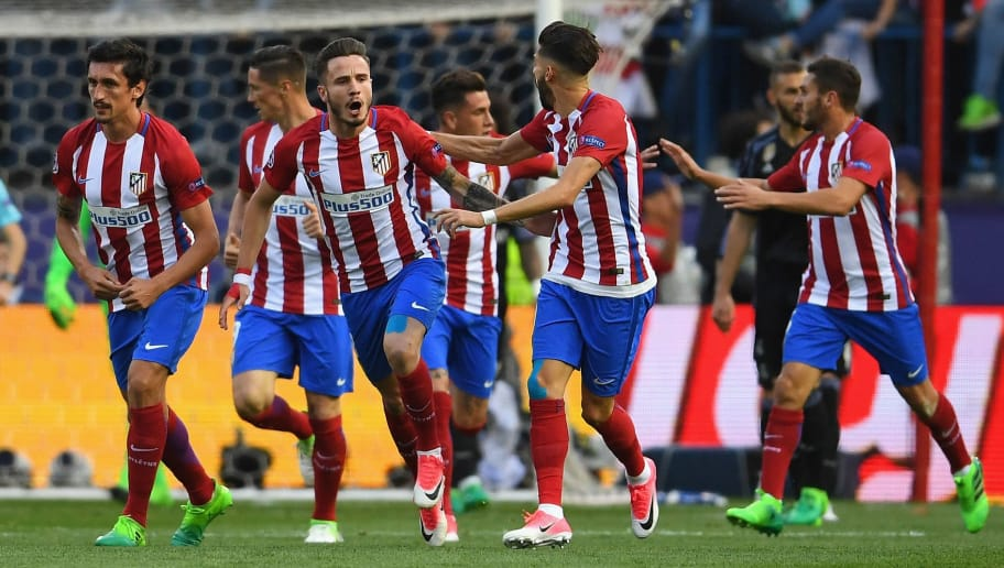 MADRID, SPAIN - MAY 10:  Saul Niguez of Atletico Madrid celebrates scoring the opening goal with team mates during the UEFA Champions League Semi Final second leg match between Club Atletico de Madrid and Real Madrid CF at Vicente Calderon Stadium on May 10, 2017 in Madrid, Spain.  (Photo by Laurence Griffiths/Getty Images)