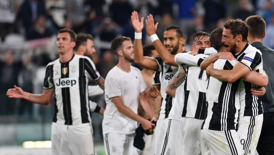 Juventus' celebrate at the end of the UEFA Champions League semi final second leg football match Juventus vs Monaco, on May 9, 2017 at the Juventus stadium in Turin.  Juventus secured their place in the final of the Champions League on Tuesday after beating Monaco 2-1 in their semi-final second leg to win the tie 4-1 on aggregate. / AFP PHOTO / Alberto PIZZOLI        (Photo credit should read ALBERTO PIZZOLI/AFP/Getty Images)
