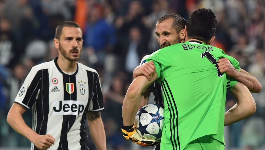 Juventus' goalkeeper from Italy Gianluigi Buffon, Juventus' defender from Italy Giorgio Chiellini and Juventus' defender from Italy Leonardo Bonucci celebrate during the UEFA Champions League quarter final first leg football match Juventus vs Barcelona, on April 11, 2017 at the Juventus stadium in Turin.  / AFP PHOTO / GIUSEPPE CACACE        (Photo credit should read GIUSEPPE CACACE/AFP/Getty Images)