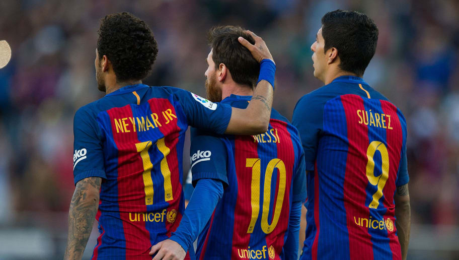 BARCELONA, SPAIN - MAY 06:  Lionel Messi of FC Barcelona celebrates with Neymar and Luis Suarez after scoring his team's 3rd goal from the penalty spot during of the La Liga match between FC Barcelona and Villarreal CF at Camp Nou stadium on May 6, 2017 in Barcelona, Spain.  (Photo by Denis Doyle/Getty Images)