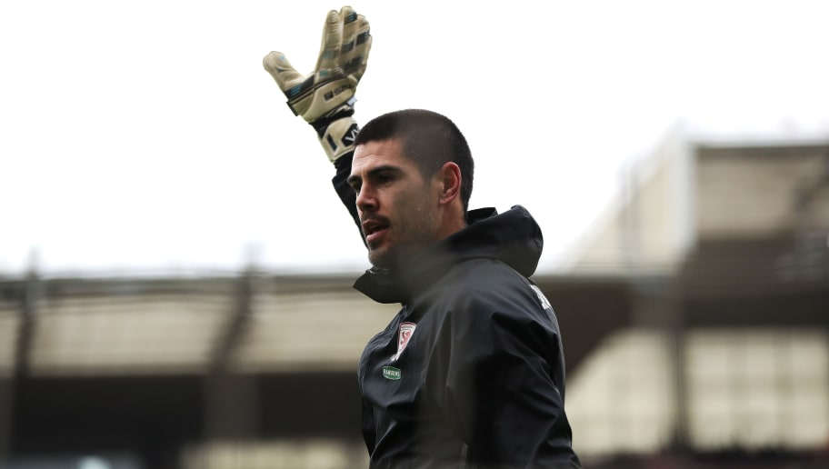 MIDDLESBROUGH, ENGLAND - MARCH 11: Victor Valdes of Middlesbrough shows appreciation to the fans while warming up prior to The Emirates FA Cup Quarter-Final match between Middlesbrough and Manchester City at Riverside Stadium on March 11, 2017 in Middlesbrough, England.  (Photo by Ian MacNicol/Getty Images)