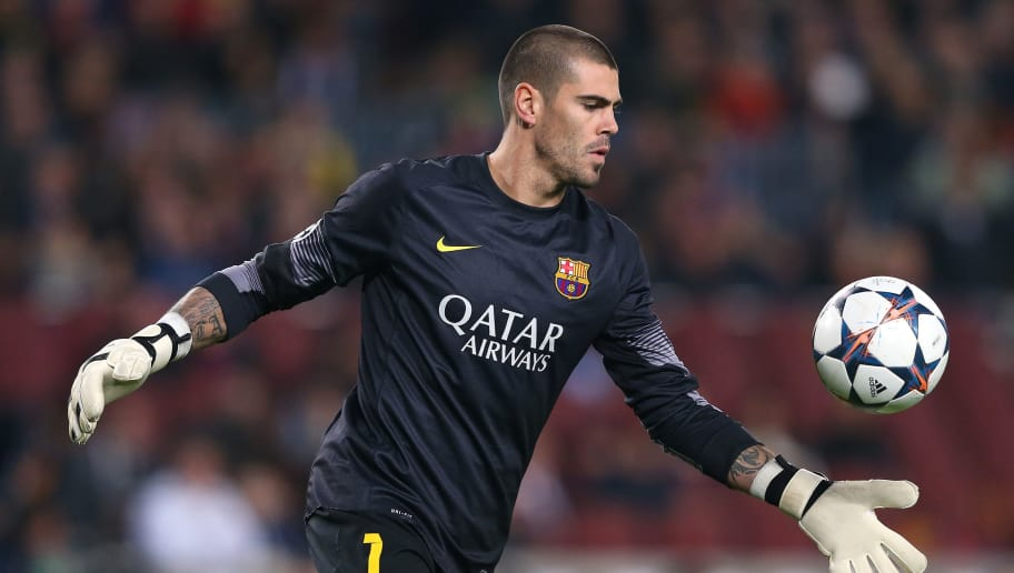BARCELONA, SPAIN - MARCH 12:  Victor Valdes of FC Barcelona during the UEFA Champions League Round of 16 match between FC Barcelona and Manchester City at Camp Nou on March 12, 2014 in Barcelona, Spain.  (Photo by Alex Livesey/Getty Images)