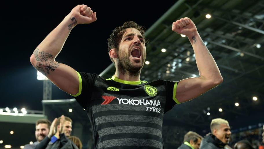 b5fa8044c031f Chelsea's Spanish midfielder Cesc Fabregas celebrates victory after the  English Premier League match between West Bromwich