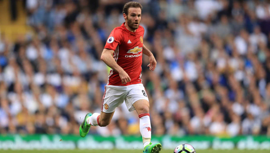 LONDON, ENGLAND - MAY 14:  Juan Mata of Manchester United in action during the Preimer League match between Tottenham Hotspur and Manchester United at White Hart Lane on May 14, 2017 in London, England. Tottenham Hotspur are playing their last ever home match at White Hart Lane after their 118 year stay at the stadium. Spurs will play at Wembley Stadium next season with a move to a newly built stadium for the 2018-19 campaign.  (Photo by Richard Heathcote/Getty Images )