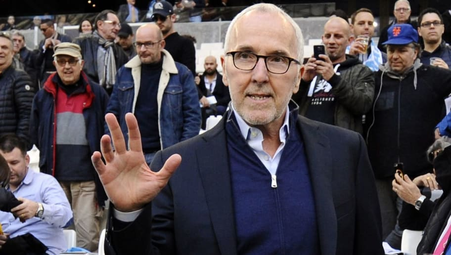 Olympique de Marseille's US owner Frank McCourt waves as he attends the French L1 football match between Marseille and Rennes on February 18, 2017, at the Velodrome stadium in Marseille, southern France. / AFP / Franck PENNANT        (Photo credit should read FRANCK PENNANT/AFP/Getty Images)