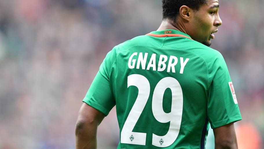 BREMEN, GERMANY - MARCH 04:  Serge Gnabry of Bremen looks on during the Bundesliga match between Werder Bremen and SV Darmstadt 98 at Weserstadion on March 4, 2017 in Bremen, Germany.  (Photo by Stuart Franklin/Bongarts/Getty Images)