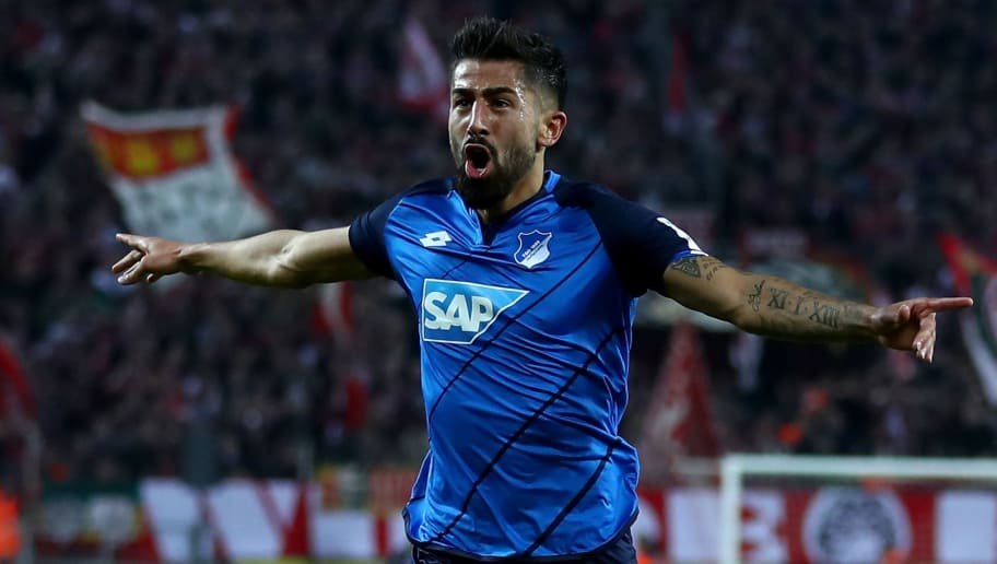COLOGNE, GERMANY - APRIL 21:  Kerem Demirbay of Hoffenheim celebrates after he scores the equalizing goal during the Bundesliga match between 1. FC Koeln and TSG 1899 Hoffenheim at RheinEnergieStadion on April 21, 2017 in Cologne, Germany.  (Photo by Lars Baron/Bongarts/Getty Images)
