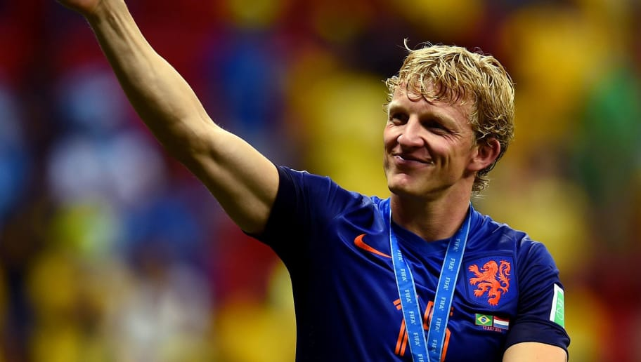 BRASILIA, BRAZIL - JULY 12: Dirk Kuyt of the Netherlands acknowledges the fans after defeating Brazil 3-0 during the 2014 FIFA World Cup Brazil Third Place Playoff match between Brazil and the Netherlands at Estadio Nacional on July 12, 2014 in Brasilia, Brazil.  (Photo by Jamie McDonald/Getty Images)