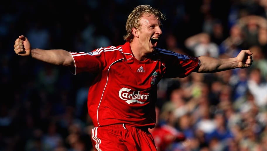 LIVERPOOL, UNITED KINGDOM - OCTOBER 20:  Dirk Kuyt of Liverpool celebrates at the final whistle after scoring  the winning goal from the penalty spot during the Barclays Premier League match between Everton and Liverpool  at Goodison Park on October 20, 2007 in Liverpool, England.  (Photo by Clive Brunskill/Getty Images)
