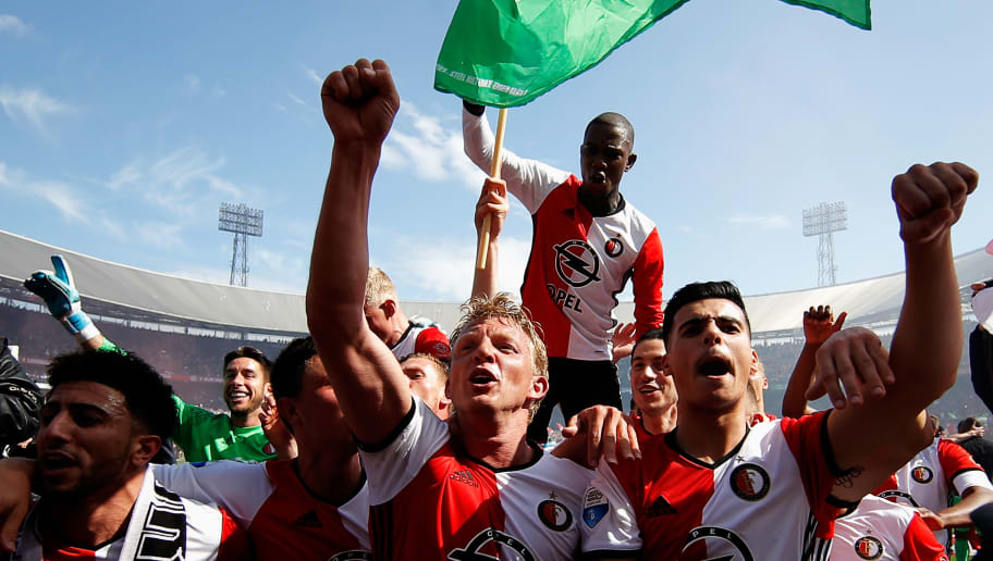 ROTTERDAM, NETHERLANDS - MAY 14:  Captain, Dirk Kuyt of Feyenoord Rotterdam leads celebrations with team mates after winning the Dutch Eredivisie at De Kuip or Stadion Feijenoord on May 14, 2017 in Rotterdam, Netherlands.  (Photo by Dean Mouhtaropoulos/Getty Images)