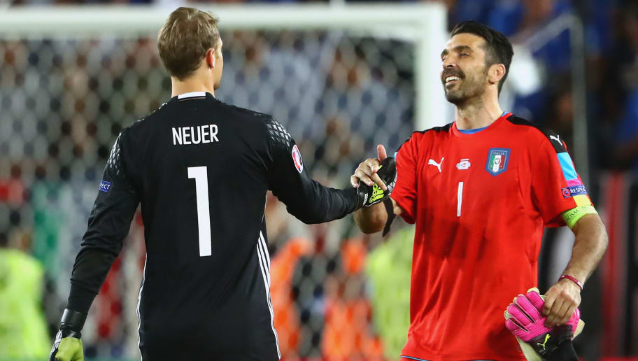 BORDEAUX, FRANCE - JULY 02:  Manuel Neuer (L) of Germany reacts with Gianluigi Buffon of Italy prior to the penallty shot out of the UEFA EURO 2016 quarter final match between Germany and Italy at Stade Matmut Atlantique on July 2, 2016 in Bordeaux, France.  (Photo by Alexander Hassenstein/Getty Images)