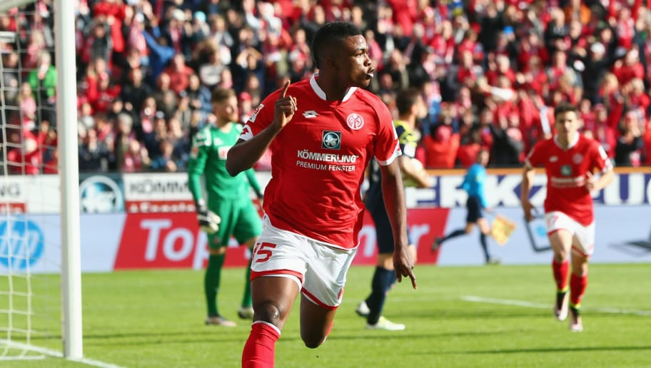 MAINZ, GERMANY - APRIL 17:  Jhon Cordoba of Mainz celebrates his team's first goal during the Bundesliga match between 1. FSV Mainz 05 and 1. FC Koeln at Coface Arena on April 17, 2016 in Mainz, Germany.  (Photo by Alex Grimm/Bongarts/Getty Images)