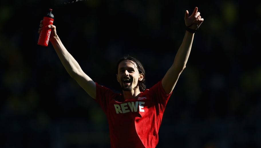 DORTMUND, GERMANY - APRIL 29:  Neven Subotic of Koeln celebrates with the fans after the Bundesliga match between Borussia Dortmund and 1. FC Koeln at Signal Iduna Park on April 29, 2017 in Dortmund, Germany.  (Photo by Lars Baron/Bongarts/Getty Images)