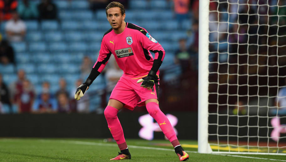 BIRMINGHAM, ENGLAND - AUGUST 16:  Danny Ward of Huddersfield in action during the Sky Bet Championship match between Aston Villa and Huddersfield Town at Villa Park on August 16, 2016 in Birmingham, England.  (Photo by Stu Forster/Getty Images)