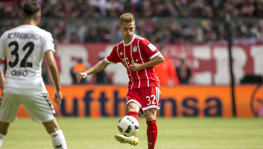 MUNICH, GERMANY - MAY 20: Joshua Kimmich of FC Bayern Muenchen in actionduring the Bundesliga match between Bayern Muenchen and SC Freiburg at Allianz Arena on May 20, 2017 in Munich, Germany. (Photo by Jan Hetfleisch/Getty Images for MAN)