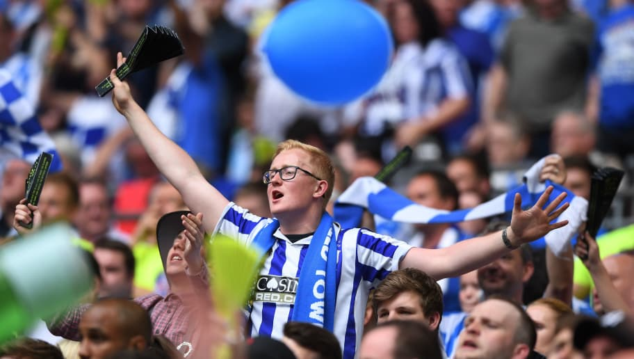 LONDON, ENGLAND - MAY 29:  A Huddersield Town fan shows surport their team during the Sky Bet Championship play off final between Huddersfield and Reading at Wembley Stadium on May 29, 2017 in London, England.  (Photo by Gareth Copley/Getty Images)