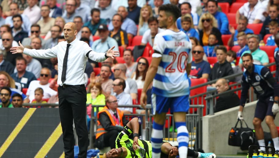 LONDON, ENGLAND - MAY 29:  Jaap Stam, Manager of Reading reacts during the Sky Bet Championship play off final between Huddersfield and Reading at Wembley Stadium on May 29, 2017 in London, England.  (Photo by Ian Walton/Getty Images)