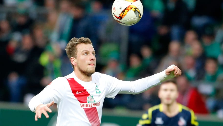 BREMEN, GERMANY - DECEMBER 12:  Philipp Bargfrede of Bremen plays the ball during the Bundesliga match between Werder Bremen and 1. FC Koeln at Weserstadion on December 12, 2015 in Bremen, Germany.  (Photo by Martin Stoever/Bongarts/Getty Images)