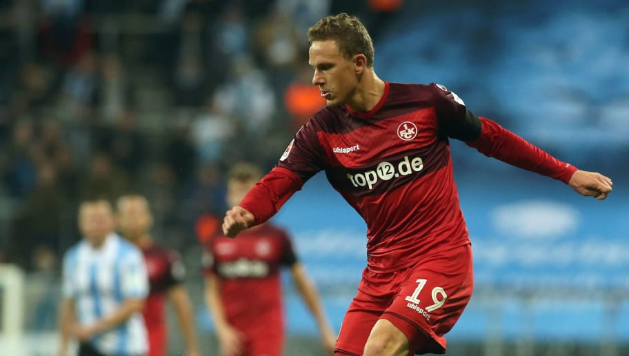MUNICH, GERMANY - NOVEMBER 21:  Marcel Gaus of Kaiserslautern in action during the Second Bundesliga match between TSV 1860 Muenchen and 1. FC Kaiserslautern at Allianz Arena on November 21, 2016 in Munich, Germany.  (Photo by Johannes Simon/Getty Images For MAN)