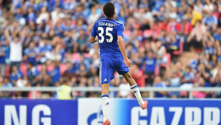 BANGKOK, THAILAND - MAY 30: Dominic Solanke #35 of Chelsea FC celebrates during the international friendly match between Thailand All-Stars and Chelsea FC at Rajamangala Stadium on May 30, 2015 in Bangkok, Thailand.  (Photo by Thananuwat Srirasant/Getty Images)