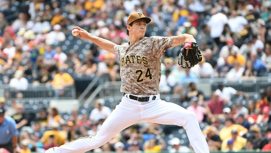 PITTSBURGH, PA - MAY 18:  Tyler Glasnow #24 of the Pittsburgh Pirates delivers a pitch against the Washington Nationals during the game at PNC Park on May 18, 2017 in Pittsburgh, Pennsylvania. (Photo by Justin Berl/Getty Images)