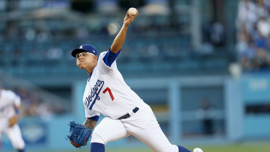 LOS ANGELES, CA - MAY 20:   Julio Urias #7 of the Los Angeles Dodgers throws  pitch in the second inning against the Miami Marlins at Dodger Stadium on May 20, 2017 in Los Angeles, California.  (Photo by Stephen Dunn/Getty Images)