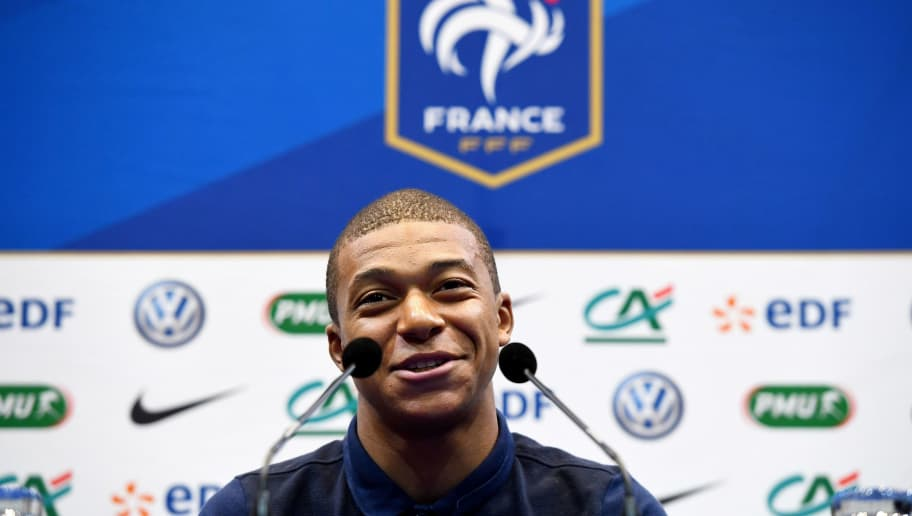 France's forward Kylian Mbappe gives a press conference in Clairefontaine-en-Yvelines on May 30, 2017. Team France prepares for the friendly football match against Paraguay to be held on June 2 and World Cup qualifier against Sweden on June 9. / AFP PHOTO / FRANCK FIFE        (Photo credit should read FRANCK FIFE/AFP/Getty Images)