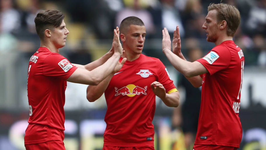 FRANKFURT AM MAIN, GERMANY - MAY 20:  Marcel Sabitzer of Leipzig celebrates his team's first goal with team mates Diego Demme and Emil Forsberg (L-R) during the Bundesliga match between Eintracht Frankfurt and RB Leipzig at Commerzbank-Arena on May 20, 2017 in Frankfurt am Main, Germany.  (Photo by Alex Grimm/Bongarts/Getty Images)