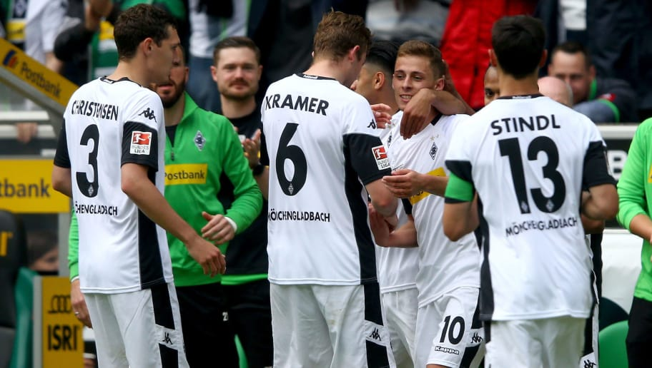 MOENCHENGLADBACH, GERMANY - MAY 20: Thorgan Hazard of Moenchengladbach (C) celebrates the first goal with his team mates during the Bundesliga match between Borussia Moenchengladbach and SV Darmstadt 98 at Borussia-Park on May 20, 2017 in Moenchengladbach, Germany.  (Photo by Christof Koepsel/Bongarts/Getty Images)