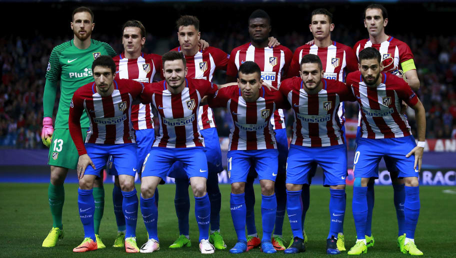 MADRID, SPAIN - MARCH 15:  Atletico de Madrid line up prior to start the UEFA Champions League Round of 16 second leg match between Club Atletico de Madrid and Bayer Leverkusen at Vicente Calderon Stadium on March 15, 2017 in Madrid, Spain.  (Photo by Gonzalo Arroyo Moreno/Getty Images)