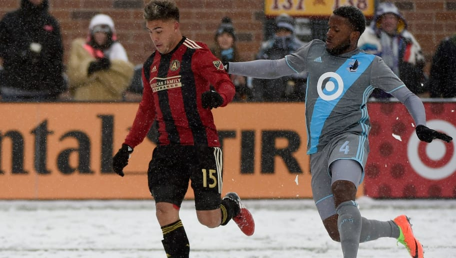 MINNEAPOLIS, MN - MARCH 12: Hector Villalba #15 of Atlanta United FC controls the ball against Jermaine Taylor #4 of Minnesota United FC during the second half of the match on March 12, 2017 at TCF Bank Stadium in Minneapolis, Minnesota. Atlanta defeated Minnesota 6-1. (Photo by Hannah Foslien/Getty Images)