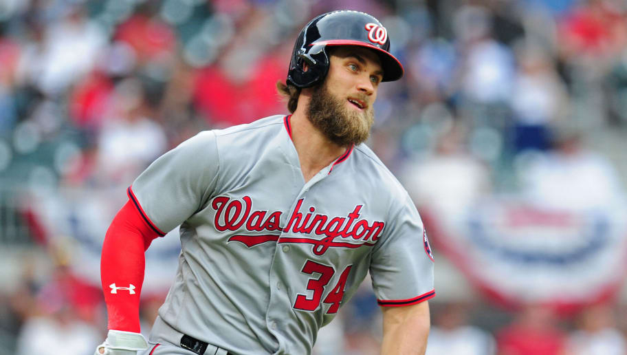 ATLANTA, GA - MAY 20: Bryce Harper #34 of the Washington Nationals runs after hitting a single against the Atlanta Braves in the fourth inning at SunTrust Park on May 20, 2017 in Atlanta, Georgia. (Photo by Scott Cunningham/Getty Images)
