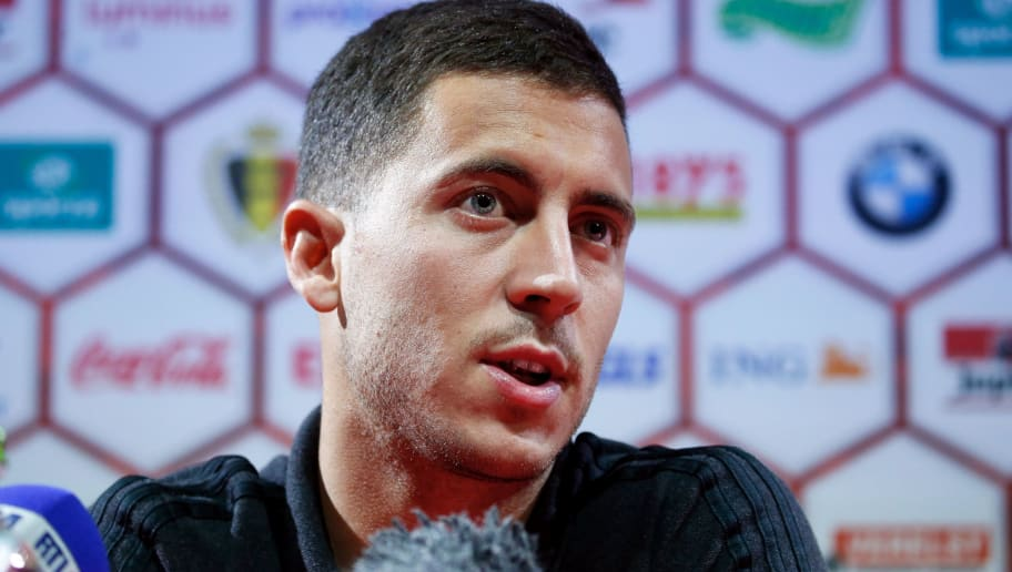 Belgium's Eden Hazard gives a press conference in Tubize, on June 4, 2017, on the eve of a friendly football match between Belgium and Czech Republic. / AFP PHOTO / Belga / BRUNO FAHY / Belgium OUT        (Photo credit should read BRUNO FAHY/AFP/Getty Images)