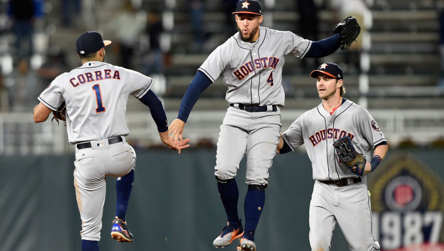 MINNEAPOLIS, MN - MAY 30: (L-R) Carlos Correa #1, George Springer #4 and Josh Reddick #22 of the Houston Astros celebrate winning the game against the Minnesota Twins on May 30, 2017 at Target Field in Minneapolis, Minnesota. The Astros defeated the Twins 7-2. (Photo by Hannah Foslien/Getty Images)