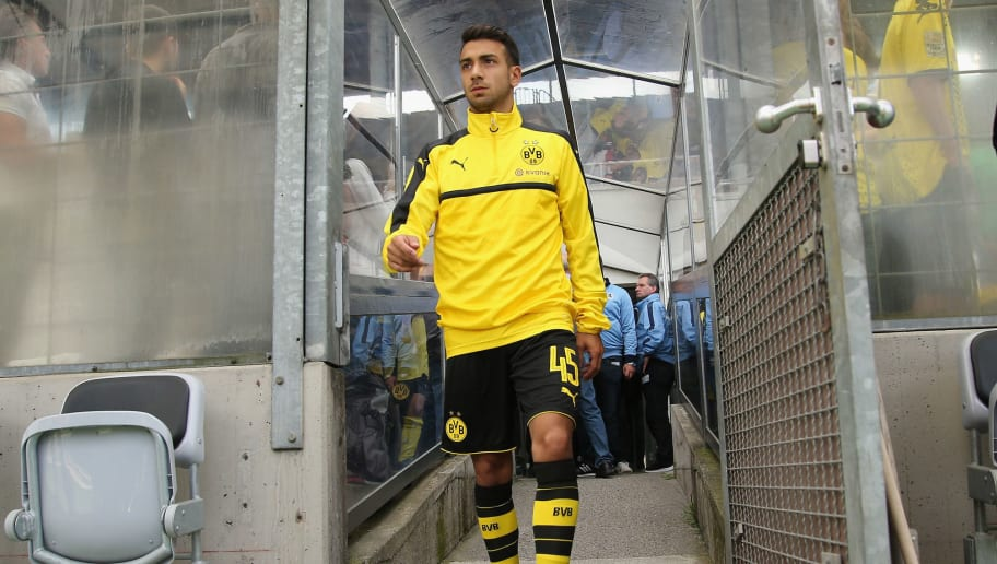 MUNICH, GERMANY - JULY 16:  Burak Camoglu of Dortmund arrives for the friendly match between TSV 1860 Muenchen and BVB Borussia Dortmund at Stadion an der Gruenwalder Strasse on July 16, 2016 in Munich, Germany  (Photo by Johannes Simon/Bongarts/Getty Images)