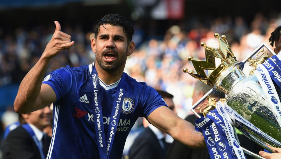 LONDON, ENGLAND - MAY 21:  Diego Costa of Chelsea poses with the Premier League Trophy after the Premier League match between Chelsea and Sunderland at Stamford Bridge on May 21, 2017 in London, England.  (Photo by Michael Regan/Getty Images)