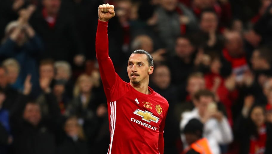LONDON, ENGLAND - FEBRUARY 26:  Zlatan Ibrahimovic of Manchester United celebrates as he scores their third goal  during the EFL Cup Final between Manchester United and Southampton at Wembley Stadium on February 26, 2017 in London, England.  (Photo by Michael Steele/Getty Images)
