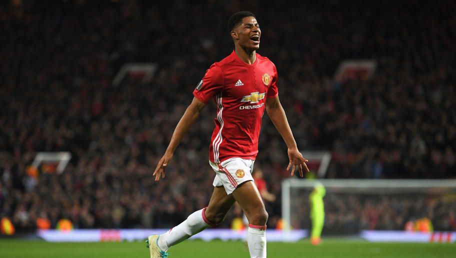 MANCHESTER, ENGLAND - APRIL 20:  Marcus Rashford of Manchester United celebrates as he scores their second goal during the UEFA Europa League quarter final second leg match between Manchester United and RSC Anderlecht at Old Trafford on April 20, 2017 in Manchester, United Kingdom.  (Photo by Laurence Griffiths/Getty Images)