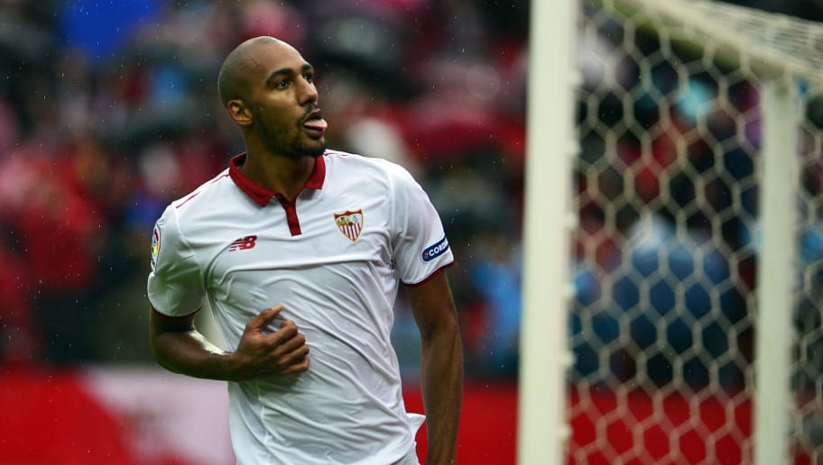 Sevilla's French midfielder Steven N'Zonzi celebrates a goal during the Spanish league football match between Sevilla FC and Club Atletico de Madrid at the Ramon Sanchez Pizjuan stadium in Sevilla on October 23, 2016. / AFP / CRISTINA QUICLER        (Photo credit should read CRISTINA QUICLER/AFP/Getty Images)