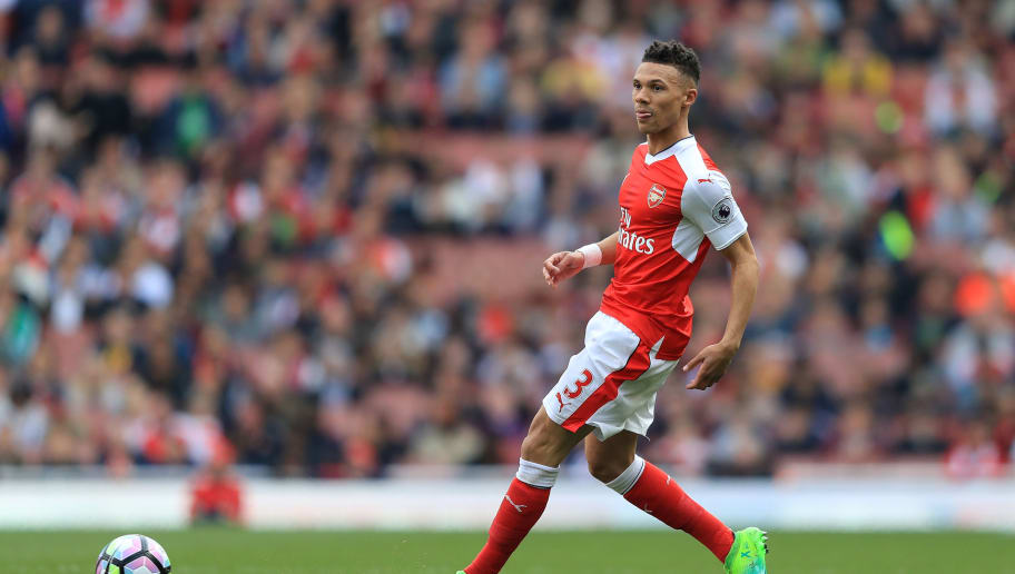 LONDON, ENGLAND - MAY 07:  Kieran Gibbs of Arsenal in action during the Premier League match between Arsenal and Manchester United at Emirates Stadium on May 7, 2017 in London, England.  (Photo by Richard Heathcote/Getty Images)