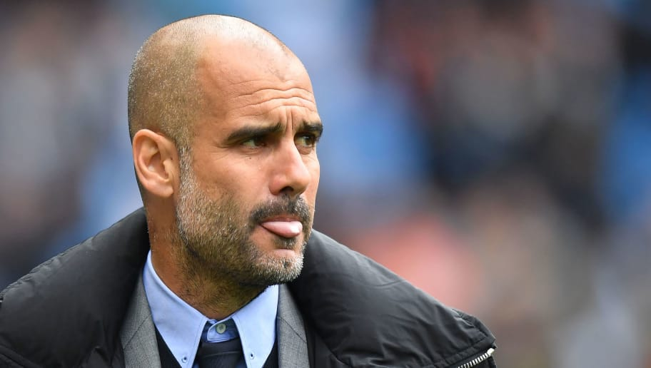 Manchester City's Spanish manager Pep Guardiola arrives for the English Premier League football match between Manchester City and Leicester City at the Etihad Stadium in Manchester, north west England, on May 13, 2017. / AFP PHOTO / Anthony DEVLIN / RESTRICTED TO EDITORIAL USE. No use with unauthorized audio, video, data, fixture lists, club/league logos or 'live' services. Online in-match use limited to 75 images, no video emulation. No use in betting, games or single club/league/player publications.  /         (Photo credit should read ANTHONY DEVLIN/AFP/Getty Images)