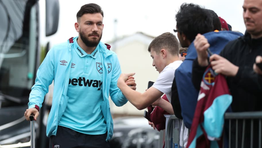 BURNLEY, ENGLAND - MAY 21: Robert Snodgrass of West Ham United arrives at the stadium prior to the Premier League match between Burnley and West Ham United at Turf Moor on May 21, 2017 in Burnley, England.  (Photo by Mark Robinson/Getty Images)