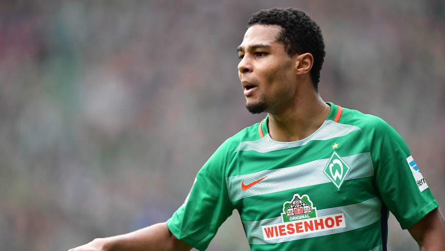 BREMEN, GERMANY - MARCH 04:  Serge Gnabry of Bremen gestures during the Bundesliga match between Werder Bremen and SV Darmstadt 98 at Weserstadion on March 4, 2017 in Bremen, Germany.  (Photo by Stuart Franklin/Bongarts/Getty Images)