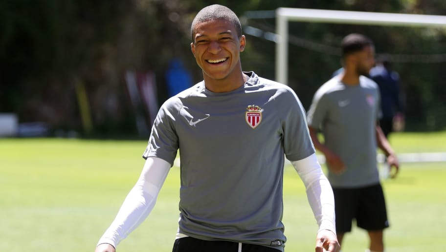 Monaco's French forward Kylian Mbappe Lottin attends a training session on May 8, 2017 in La Turbie, near Monaco, on the eve of the UEFA Champions League semi-final second leg football match against Juventus.  / AFP PHOTO / VALERY HACHE        (Photo credit should read VALERY HACHE/AFP/Getty Images)