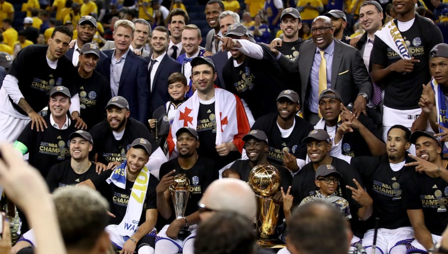OAKLAND, CA - JUNE 12:  The Golden State Warriors celebrate after defeating the Cleveland Cavaliers 129-120 in Game 5 to win the 2017 NBA Finals at ORACLE Arena on June 12, 2017 in Oakland, California. NOTE TO USER: User expressly acknowledges and agrees that, by downloading and or using this photograph, User is consenting to the terms and conditions of the Getty Images License Agreement.  (Photo by Ezra Shaw/Getty Images)
