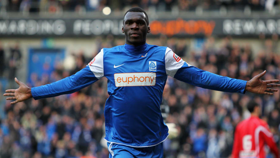 GENK, BELGIUM - APRIL 07:  Christian Benteke of Genk celebrates scoring the second goal of the game during the Jupiler League match between KRC Genk and KAA Gent at the Cristal Arena on April 7, 2012 in Genk, Belgium.  (Photo by Dean Mouhtaropoulos/Getty Images)