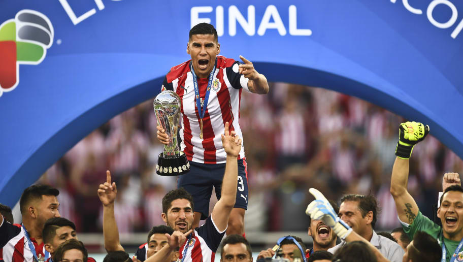 eb476646be1 Guadalajara´s Carlos Salcido celebrates with the trophy the victory against  Tigres during the final