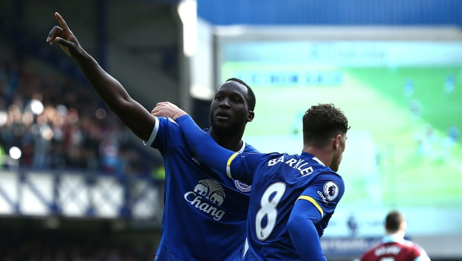 LIVERPOOL, ENGLAND - APRIL 15: Romelu Lukaku of Everton celebrates scoring his sides third goal with Ross Barkley of Everton during the Premier League match between Everton and Burnley at Goodison Park on April 15, 2017 in Liverpool, England.  (Photo by Jan Kruger/Getty Images)