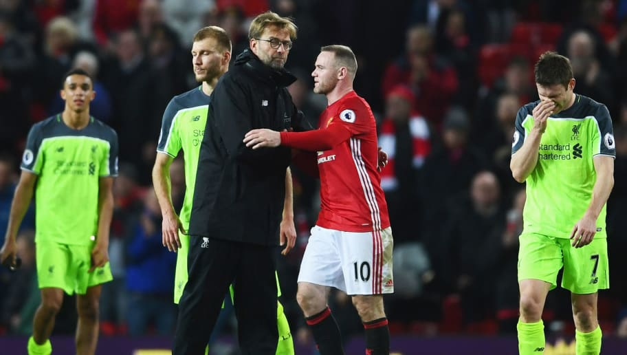 MANCHESTER, ENGLAND - JANUARY 15:  Wayne Rooney of Manchester United and Jurgen Klopp manager of Liverpool shake hands after the Premier League match between Manchester United and Liverpool at Old Trafford on January 15, 2017 in Manchester, England.  (Photo by Laurence Griffiths/Getty Images)